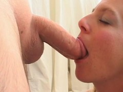 Milf is filmed for the first time sucking cock