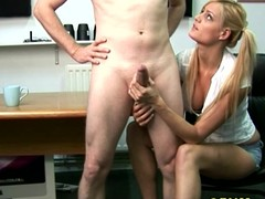 CFNM blonde tugs and blows say no to stud