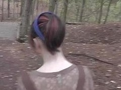 Fucked and Cum absolve of his girlfriend wide the forest