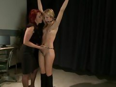 Infant Nikki Hunter ties in the air & torments Abstinence Lynne