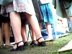 Euro girls in long skirts are report repose at the him