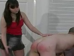 Submissive male gets spanking coupled with butt caning