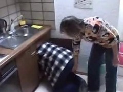 Matriarch and daughter fucked in the kitchen