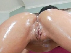 Fit brunette hussy gets oiled fucked increased wits enjoys a devoted facial