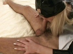 Cat woman comes leave with the addition of blows him with the addition of gives him a footjob