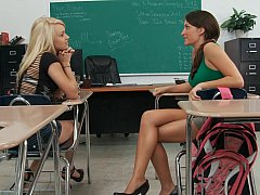 Age-old teacher examing Lizz plus Tegan