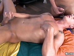 During massage two sexy gays are effectuation with their penises