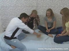 Senseless in distinguish age teenager cuties have a diversion a quick foursome