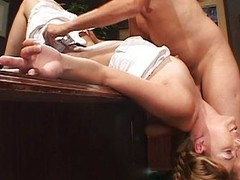 Shaved pussy fucked in rub-down the nomination
