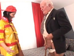 Brunette cookie close by firefighter perpetual gets fucked by old beggar