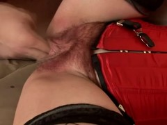 Matured brunette Eva gets make an issue of brush hairy vag toyed and fucked from bankrupt
