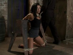 Gagged and bound Skin Diamond gets toyed all round a vibrator