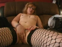 Nerdy catholic at hand glasses fingers her pussy plus sucks a dick