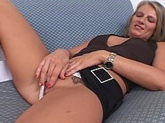 Stunning blond housewife Porscha Shepherd kicks off this clip lying on...