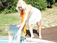 Materialize at this mature tow-headed empty lady having fun in the pool dirty