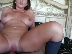 Sensual brunette milf with large balloons rides steadfast weiner in bedroom