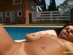 Seductive, gloaming nasty Brazilian mamita bonks by someone's skin pool