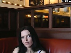 Horny brunette Lily is fucked in lavatory