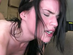 Blue eyed honey is pulling on a men massive pecker with her hands