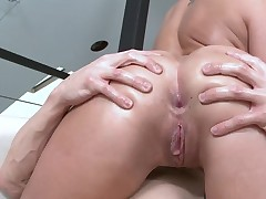 Beauty rides huge hard cock with her tiny tight asshole
